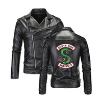 куртки прохладно воротник оптовых-Cool Southside Riverdale Turn-down collar Leather Jackets Serpents Men Riverdale Streetwear Leather  south side serpents