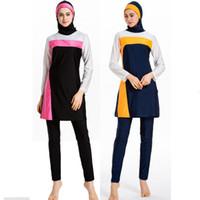 kadın islamik mayo toptan satış-Kadınlar Için yüzme Suit Başörtüsü Giyim Üst Alt Kapaklar 3 Parça Müslüman Set İslam Mayo Mayo Dubai Abrab Yüzme Burkini