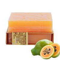 sabão anti-acne venda por atacado-Natural Orgânica Herbal Verde Papaya Clareamento Sabonete Artesanal Clareamento Da Pele Remover Acne Hidratante Sabonete de Banho De Limpeza