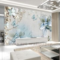 flor de arte mural al por mayor-Modern Simple Simple Art Blue Butterfly Flower Natural Foto 3D Papel tapiz para 3d Wall Covering Mural Rolls Hogar