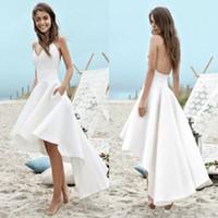 Wholesale empire neck elastic wedding dresses for sale - 2019 New Designer Simple Cheap Hi Lo Wedding Dresses Beach Sexy Spaghetti Straps Bohemian Wedding Dress Bridal Gowns Boho