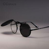 Wholesale pairs sunglasses resale online - STEAMPUNK Retro Round Flip Sunglasses Men Women Metal Two Pairs Lenses CIRCLE SUN GLASSES Brand Fashion Eyewear Shades UV400