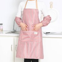 талии кухонные фартуки оптовых-Striped Anti-fouling Apron Sleeve Housework Restaurant Sets of Apron Kitchen Waist Waterproof Adult Bibs Family Suits
