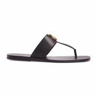 Wholesale beaches sandals for sale - Group buy fashion Black soft Leather Francis Thong Sandals mens and womens causal flat beach slip on sandals