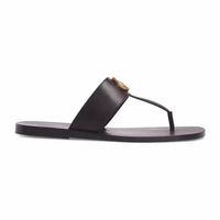sandalias planas negras para mujer al por mayor-Moda Negro suave de cuero Francis Thong Sandals para hombre y para mujer causal plana playa resbalón en sandalias