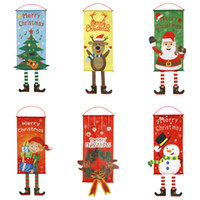 Wholesale hanging santa flags for sale - Group buy Christmas Hanging Flags Shop Window Pendant Home Party Room Wall Ornament Outdoor Xmas Santa Claus Decoration Door Flags with Lanyard JK1910