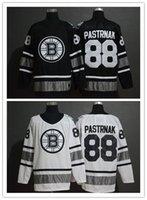 nhl boston toptan satış-Erkek 2019 Tüm Boston Bruins Yıldız 88 David Pastrnak Beyaz Siyah NHL Stiched Hokeyi Formalar Boyutları Sml XL 2XL 3XL