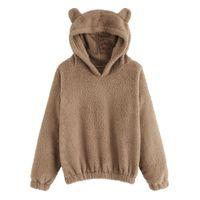 urso kawaii venda por atacado-Brasão 2018 Orelhas Teddy Bear Quente Inverno Jacket macia casaco grosso com capuz Outwears mulheres camisola Hoodies Kawaii velo Fur