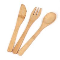 cubiertos vajilla al por mayor-Juego de vajilla Juego de cubiertos de bambú respetuoso con el medio ambiente Cuchillo Tenedor Cuchara 3PCS / SET Cubiertos portátiles Juego de vajilla para estudiantes Viaje