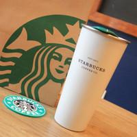 caneca branca do starbucks venda por atacado-Clássico Starbucks 1971 xícara de café copo de café branco pérola de aço inoxidável 16 oz Outdoor sports Acompanhando Caneca presente do Dia Dos Namorados