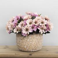 ingrosso fiori di fiori artificiali-Bouquet da sposa Silk Daisy Flower Artificial Flower Bouquet di fiori retrò europeo per la cerimonia nuziale Decorazioni per la casa 5 rami / bouquet