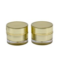 Wholesale gold cream jars online - 10G ML Gold Acrylic Refillable Cosmetic Jars Empty Face Cream Lip Balm Storage Container Pot Bottle Case With Liner Screw Lids