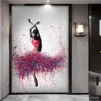 pintando tecido de menina venda por atacado-HD Photo 3D Não-tecido de Papel De Parede Murais Hallway Bailarina menina pintura A Óleo Home Decor Sala de estar Quarto Decoração Da Porta