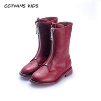 7427311d675 CCTWINS KIDS 2018 Autumn Children Pu Leather Shoe Baby Girl Fashion Mid  Calf Boot Toddler Brand Black Boot Red H001