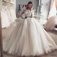 Wholesale hand beaded wedding gown for sale - Group buy 2020 Wedding Dresses Plus Size Lace Applique Crystal Beaded Ball Gown Jewel Neck Long Sleeves Hand Made Flowers Illusion Formal Bridal Gowns