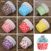 Wholesale muffin casing resale online - Cupcake Paper Muffin Cupcake Dot Decorate Paper Grease proof Liners Baking Case Mold Decorate Cake Baking Wrapper