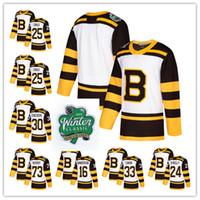 brandon beyaz toptan satış-Özel erkek Boston Bruins Brandon Carlo David Krejci Zdeno Chara Torey Krug Kam Neely Tuukka Törpü Beyaz 2019 Kış Klasik Hokey Jersey