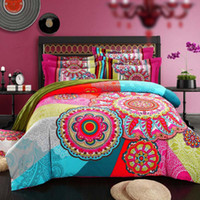Wholesale black white burgundy bedding online - bed set cotton king D Duvet Cover Sets Bohemian butterfly bird floral peacock Print Bedsheet Pillowcase Adult Double Bed King Size