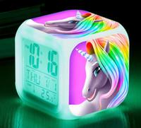 relojes de alarma al por mayor-Reloj de alarma unicornio Chicas lindas Unicornio Mini Retro Reloj de alarma de dibujos animados lindo Mesa Escritorio Reloj para niños Niñas