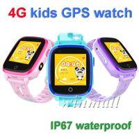 rastreador infantil reloj impermeable al por mayor-DF33 IP67 Impermeable 4G Niños Reloj inteligente Rastreador de GPS SOS Niño WIFI HD Cámara remota Reloj inteligente Compatible IOS Android
