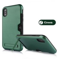 Wholesale New Brushed Hard PC TPU Case For Iphone XR XS max X s Plus Samsung Note Hybrid Armor Kickstand Cover