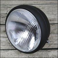 custom headlight toptan satış-Motosiklet Cafe Racer Vintage Evrensel 6.9 inç yuvarlak motosiklet farlar 12V 35W H4 farlar motosiklet özel farlar