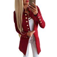 blauer mantel schlank großhandel-Herbst Winter Blazer Damenmode Einreiher Blau Rot Blazer Beiläufige Dünne Blazer Mantel Weiblichen Gesellschaftsanzug L3