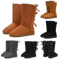 Wholesale girls tall snow boots for sale - Group buy Snow Winter Boots Classic Australian Women Bailey Bowknot Tall Designer Ladies Girl Booties Over the Knee Thigh High Boot