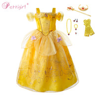 Wholesale cosplay costumes beauty beast for sale - Group buy Pettigirl Beauty and The Beast Princess Belle Costume Shoulderless Fairy Girl Party Wddding Dress Halloween Cosplay Kid Costumes
