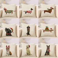 Wholesale art paintings dogs for sale - Group buy DHL cm Dachshunds Sausage Dog Cushion Covers Hand Painting Dogs Art Cushion Cover Merry Christmas Decorative Linen Pillow Case nt