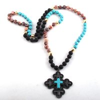Wholesale tribal jewelry for women for sale - Group buy RH Fashion Bohemian Tribal Jewelry Stone Long Knotted Black Metal Cross Pendant Necklaces For Women Necklace