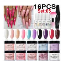gel à base venda por atacado-16 Pçs / lote Cor Gradiente Prego Glitter Mergulhando Nail Art Set Base Top Gel Ativador de Escova Saver Kits