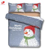 Wholesale christmas sheet sets queen for sale - 3d bedding Chrimstmas decor Stana set Snowman duvet cover bedclothes Xmas tree flat sheet Christmas