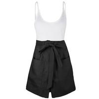шорты с высокой талией оптовых-Women Party Daily High Waist Summer Casual Two-piece Set Holiday Polyester Solid Vest+Wide-leg Shorts Sleeveless Fashion