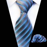 lazos de color lavanda al por mayor-Clásico 8 cm Ancho Lavanda Floral Paisley Corbatas Cravate Lujo Homme Hombres Corbatas de seda Hombres Traje de boda de negocios Corbata Hanky Set