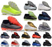 foot haute cheville achat en gros de-Hot Phantom VSN Vision Elite DF FG feu New Lights Under The Radar Fully Charged Football Crampons Hommes haute cheville Chaussures de football Taille US6.5-11