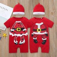 kırmızı bebek şapkası toptan satış-Şapka Bebek% 100 pamuk Noel Giyim Bebek Çocuk Noel Giyim Romper Kısa Kollu O-boyun chrismtas Kırmızı Romper