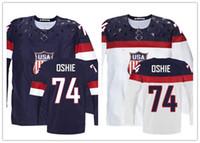 hockey jerseys оптовых-Factory Outlet, 2014 настроить Олимпийский T. J. Оши США Джерси сшитые Сочи команда США 74 TJ Оши Олимпийский Джерси американский хоккей Джерси