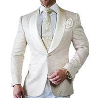 esmoquin de novio de marfil blanco al por mayor-Trajes de boda para hombre 2019 Trajes de hombre Slim Fit Groom Tuxedos Groomsman Blazer para 2 piezas (chaqueta de marfil + pantalón blanco) YM
