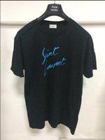 street style tshirts بالجملة-الرجال مصمم تي شيرت رسالة بسيطة مطبوعة تي شيرت باريس / SLP قصيرة الأكمام رجل لورين العلامات بلايز ستريت ستايل أوم بلايز تي شيرت