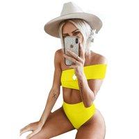 biquíni sexy venda por atacado-Ombro Pendurado Bikini Set Cor Sólida Cintura Alta Swimwear Terno Alta Elasticidade Apertado Montagem Sexy Mulheres Roupas Em Casa 24hr E1