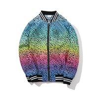 женские куртки леопардовый цвет оптовых-Мужская дизайнерская куртка с логотипом цвета градиента леопарда пальто Мужчины женщины на открытом воздухе спортивные куртки чемпионов куртки хлопок дышащий