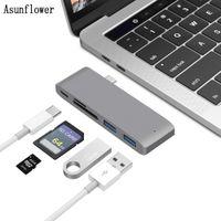 Wholesale usb otg power online – 5 in USB C HUB Type C TO HUB Card Reader Multi Splitter USB C Adapter Charging OTG Micro USB Power Port For MacBook Pro