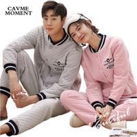 conjuntos de pijama para casais venda por atacado-2018 Outono Inverno Conjuntos De Pijama De algodão De recorte 2 peças para Casais no Amor para Os Homens