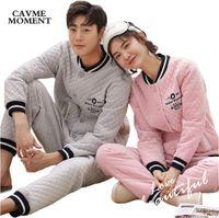 conjuntos de pijamas para parejas al por mayor-El pijama de recorte de algodón otoño invierno 2018 establece 2 piezas para parejas enamoradas de hombres