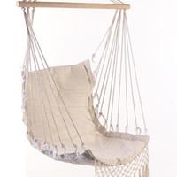 hamaca niños al por mayor-Estilo nórdico hamaca blanca al aire libre jardín interior dormitorio dormitorio silla colgante para niños adultos hamaca de seguridad hamaca individual