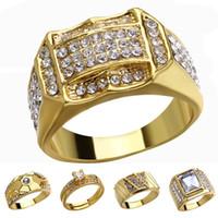 amerikanische indische schmuck männer großhandel-18 Karat Gold Diamant Ring Kristall Ringe Gold Motorrad Ringe Frauen Männer Designer Ringe Modeschmuck Werden und Sandy Drop Ship 080425