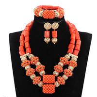 colar de coral laranja venda por atacado-2017 Mais Recente Conjuntos de Jóias de Coral Nigeriano Dubai Laranja Colar Conjuntos de Contas Africano Jóias de Noiva CNR281
