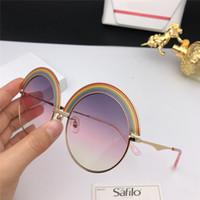 óculos de sol arco-íris venda por atacado-New Popular designer de Óculos De Sol SF 1064 metal grande Quadro Redondo Rainbow óculos de sobrancelha design criativo eyewear proteção UV400 vêm com caixa