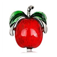 kore sıcak aksesuarları toptan satış-High Quality Custom Fashion Brooch European And American Personality Alloy Dripping Apple Brooch Japanese And Korean Hot Dress Accessories